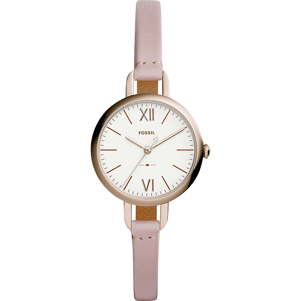 Fossil Annette Three-Hand Pastel Pink Leather Watch Pink - Fossil Watches - Fashion Accessories, Watches