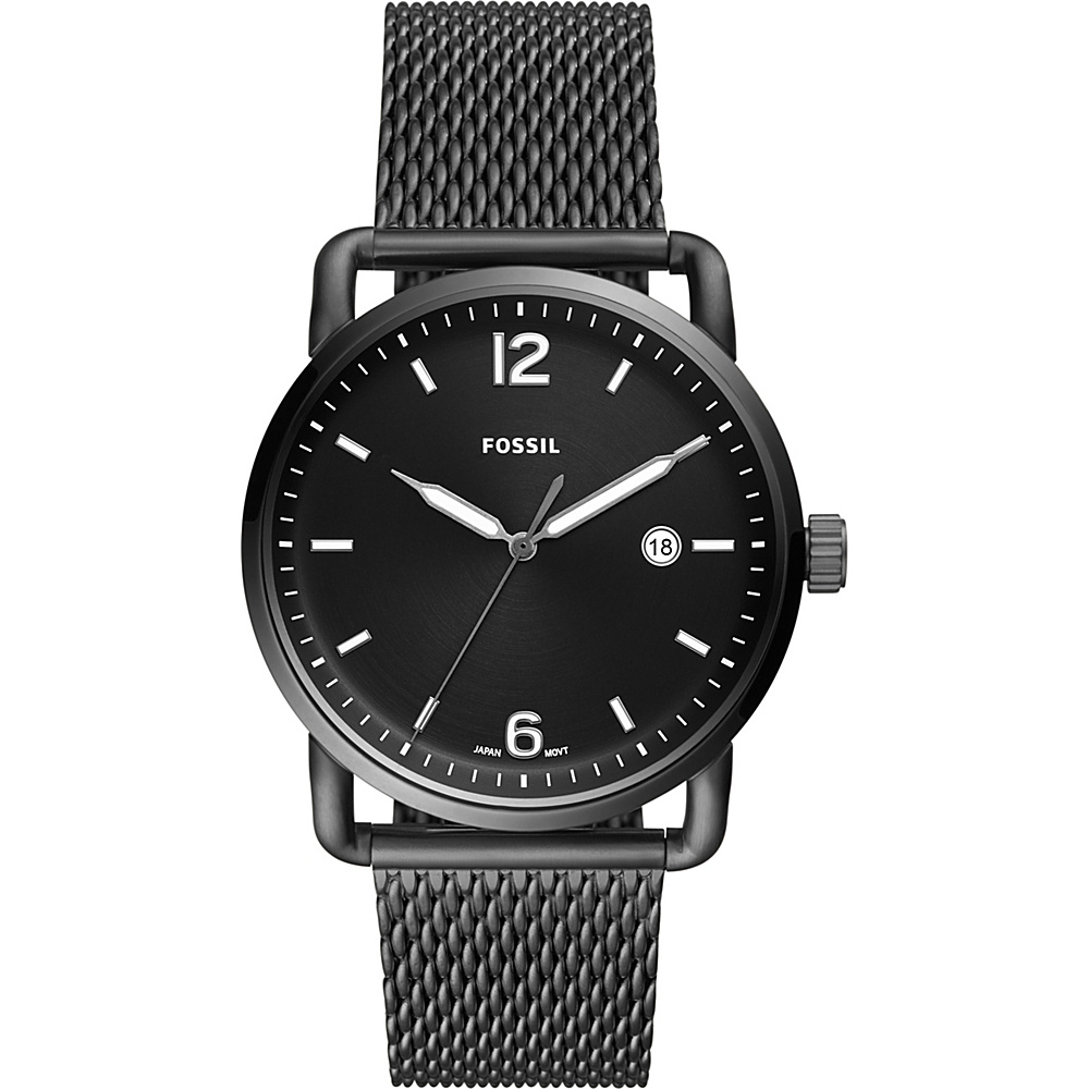 Fossil The Commuter Three-Hand Date Smoke Stainless Steel Watch Grey - Fossil Watches - Fashion Accessories, Watches