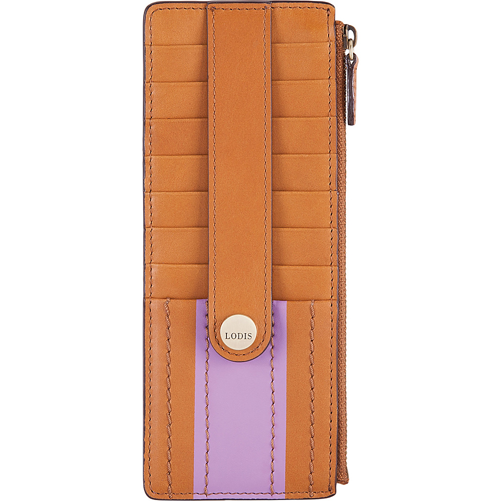 Lodis Rodeo Stripe RFID Credit Card Case With Zipper Pocket Toffee - Lodis Womens Wallets - Women's SLG, Women's Wallets