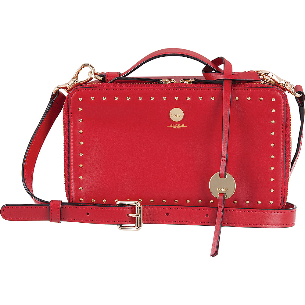 Lodis Pismo Stud RFID Sally Zip Around Crossbody Red - Lodis Leather Handbags - Handbags, Leather Handbags