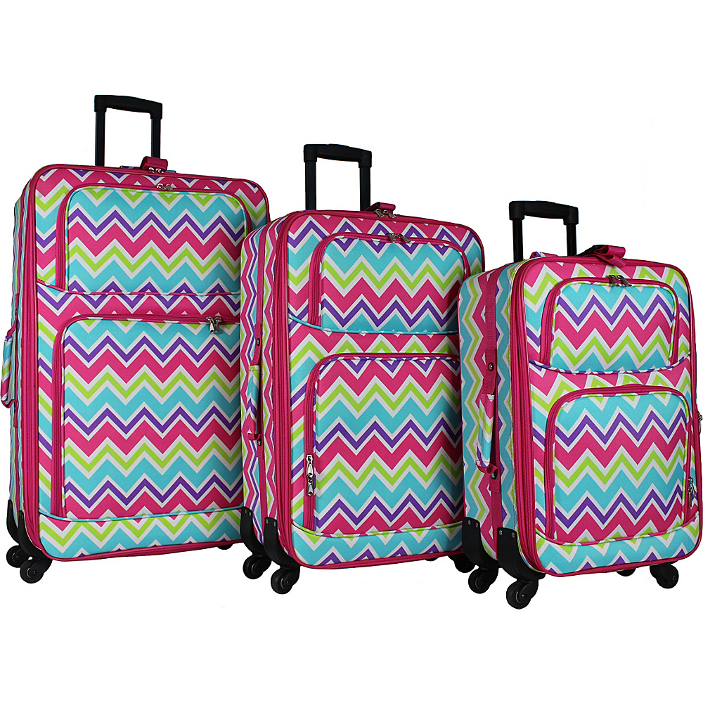 World Traveler 3 Piece Expandable Spinner Luggage Set Pink Trim Chevron Multi - World Traveler Luggage Sets - Luggage, Luggage Sets