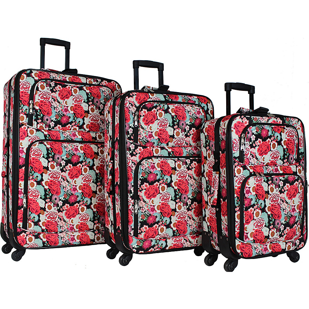 World Traveler 3 Piece Expandable Spinner Luggage Set Flowers - World Traveler Luggage Sets - Luggage, Luggage Sets
