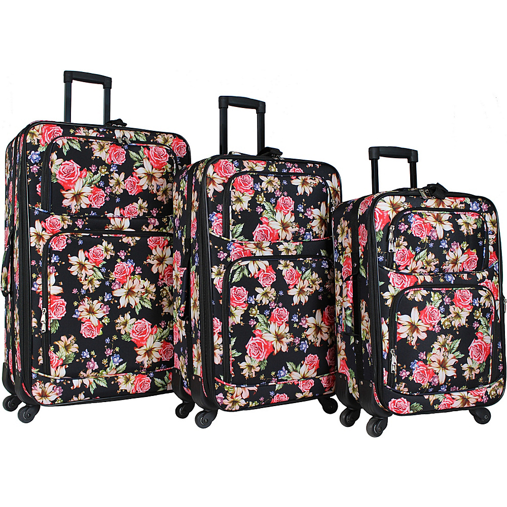 World Traveler 3 Piece Expandable Spinner Luggage Set Rose Lily - World Traveler Luggage Sets - Luggage, Luggage Sets