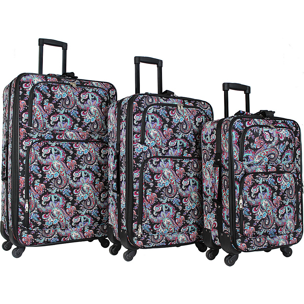 World Traveler 3 Piece Expandable Spinner Luggage Set Paisley - World Traveler Luggage Sets - Luggage, Luggage Sets