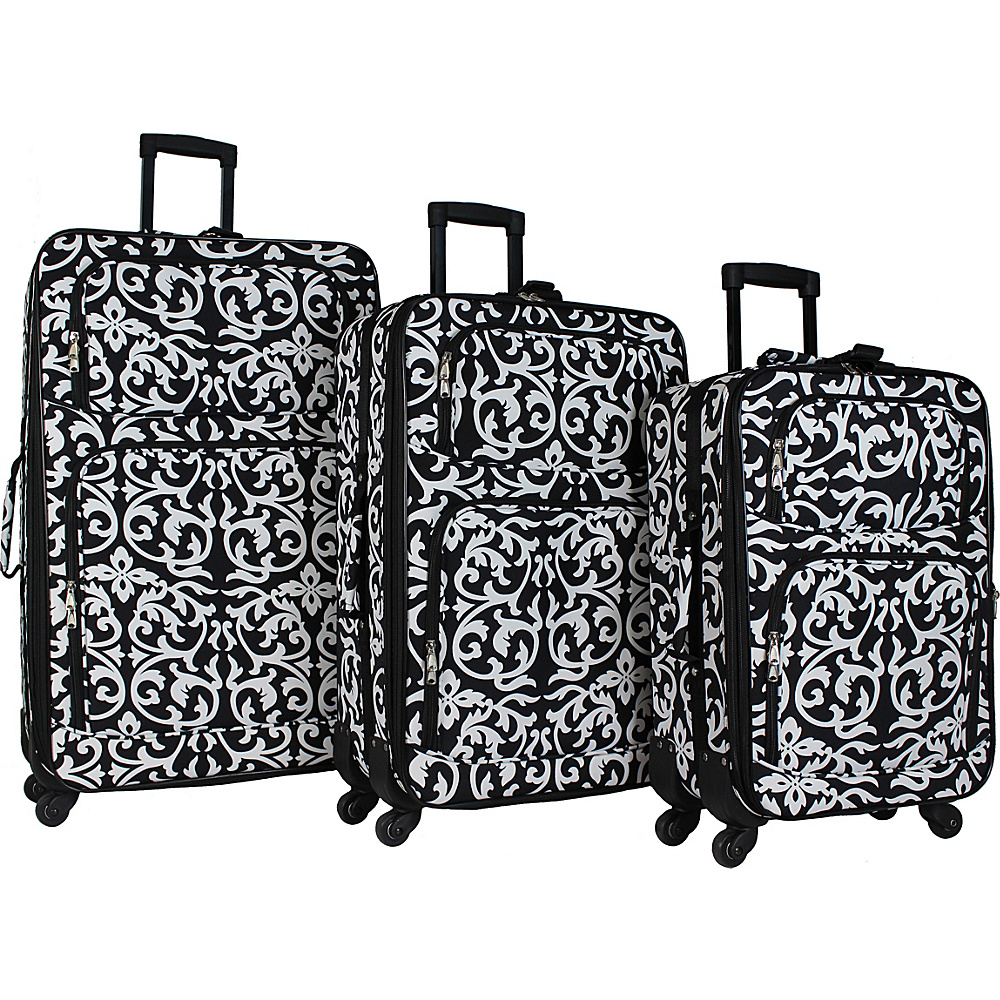 World Traveler 3 Piece Expandable Spinner Luggage Set Black Trim Damask - World Traveler Luggage Sets - Luggage, Luggage Sets