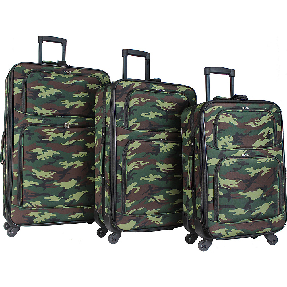 World Traveler 3 Piece Expandable Spinner Luggage Set Green Camo - World Traveler Luggage Sets - Luggage, Luggage Sets