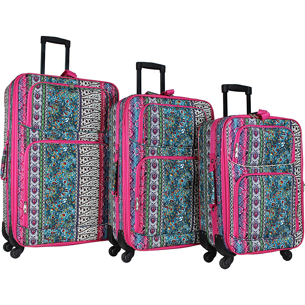 World Traveler 3 Piece Expandable Spinner Luggage Set Artisan - World Traveler Luggage Sets - Luggage, Luggage Sets