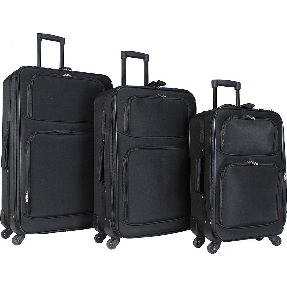 World Traveler 3 Piece Expandable Spinner Luggage Set Black - World Traveler Luggage Sets - Luggage, Luggage Sets