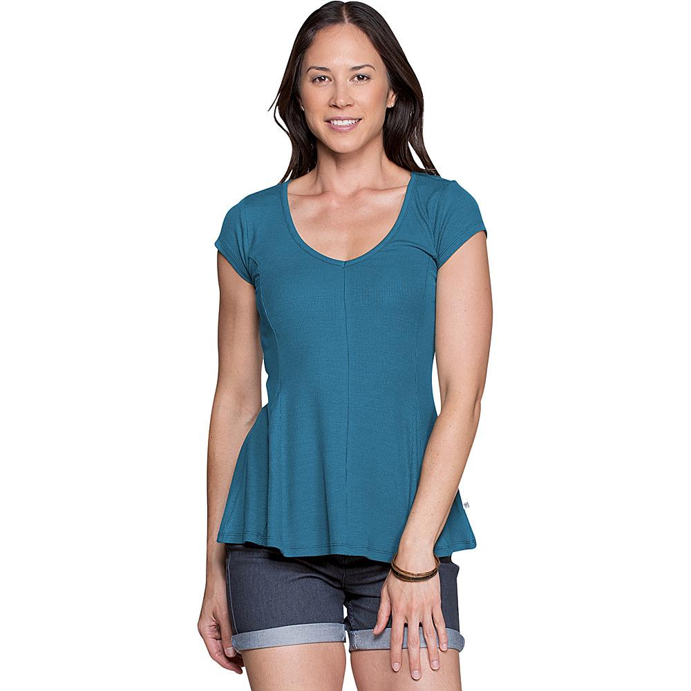 Toad & Co Womens Daisy Rib Short Sleeve Tee XS - Deepwater - Toad & Co Womens Apparel - Apparel & Footwear, Women's Apparel