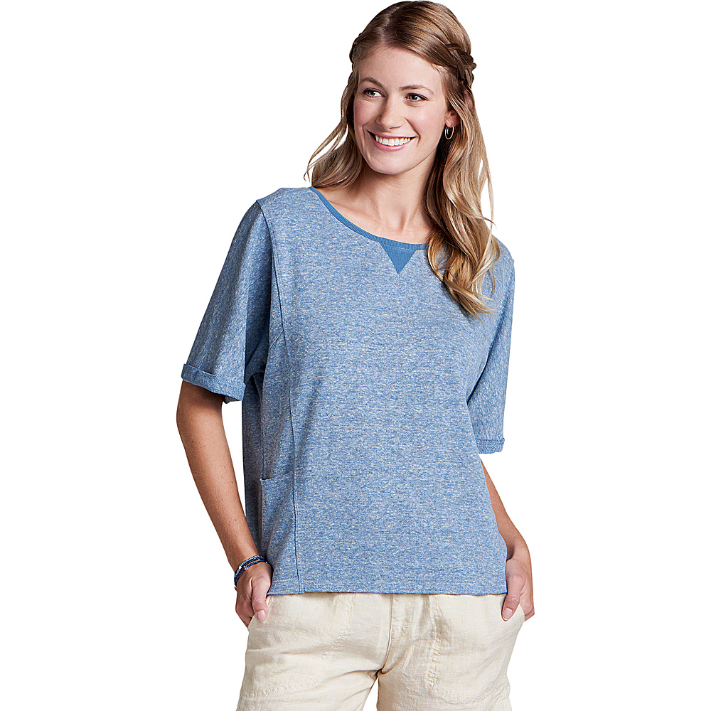 Toad & Co Womens Couvert Hemp Short Sleeve Pullover M - Bright Indigo Heather - Toad & Co Womens Apparel - Apparel & Footwear, Women's Apparel