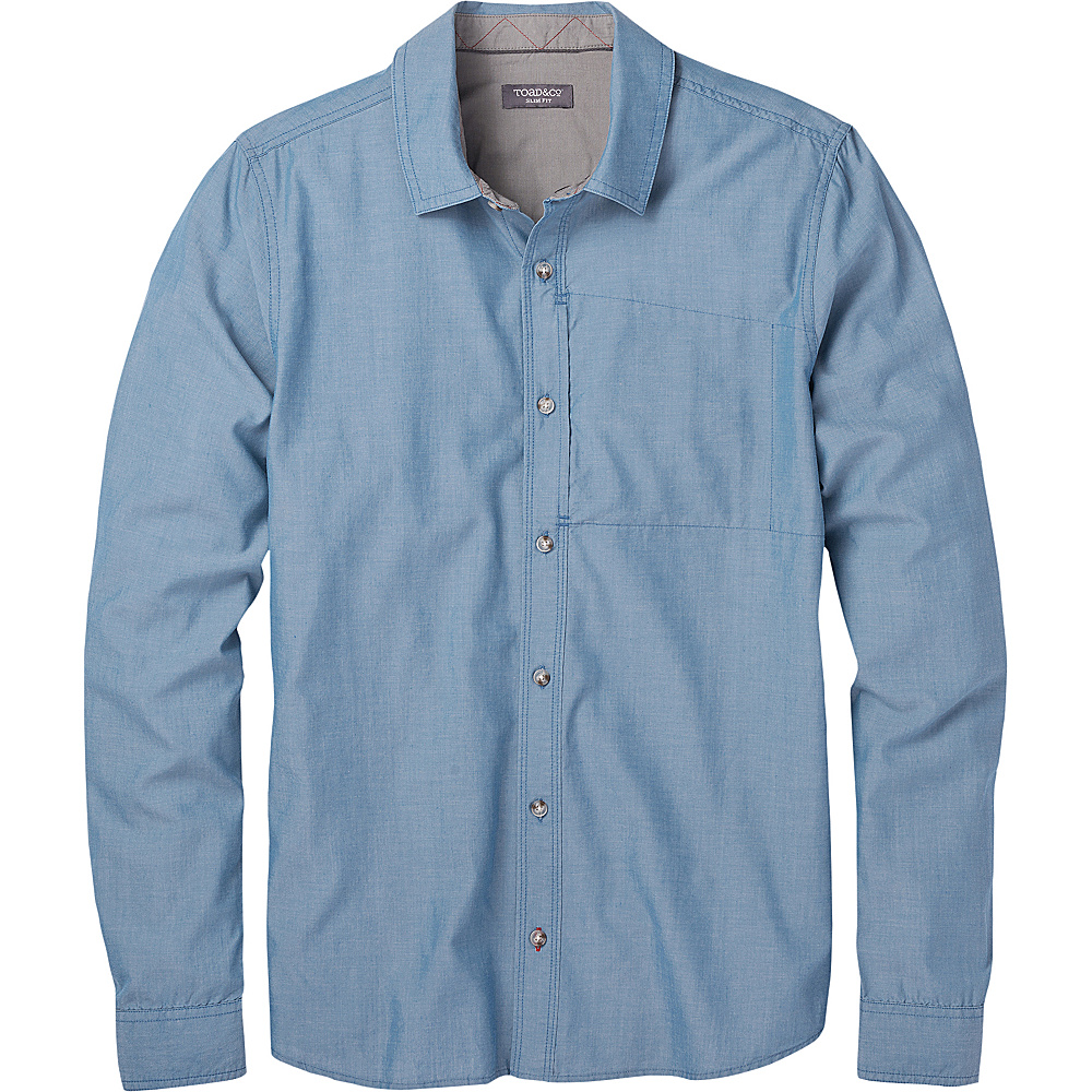 Toad & Co Mens Cutler Long Sleeve Slim Shirt S - Bright Indigo - Toad & Co Mens Apparel - Apparel & Footwear, Men's Apparel