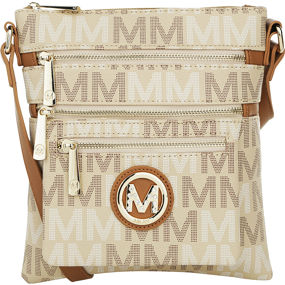 MKF Collection by Mia K. Farrow Beatrice M Signature Multi-Compartment Crossbody Beige - MKF Collection by Mia K. Farrow Manmade Handbags - Handbags, Manmade Handbags