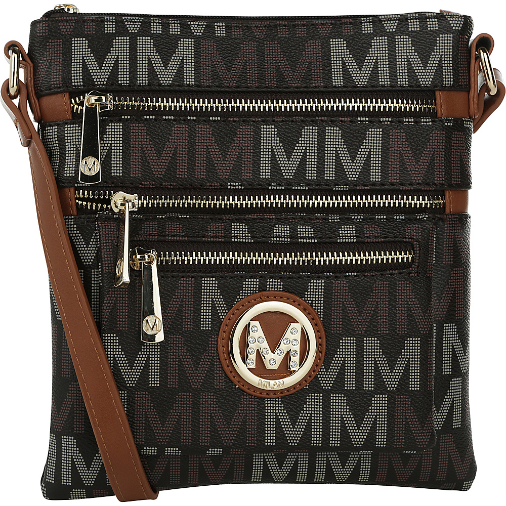 MKF Collection by Mia K. Farrow Beatrice M Signature Multi-Compartment Crossbody Brown - MKF Collection by Mia K. Farrow Manmade Handbags - Handbags, Manmade Handbags