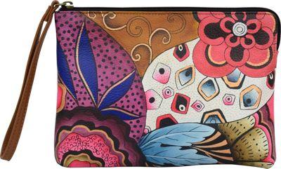 ANNA by Anuschka Hand Painted Wristlet Clutch Tribal Potpourri - ANNA by Anuschka Leather Handbags