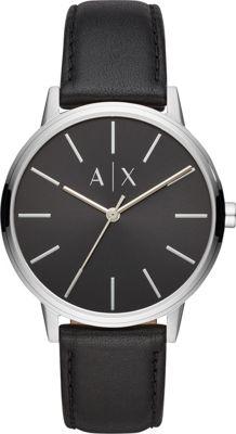 A/X Armani Exchange Men's Three-Hand Black Leather Watch ...