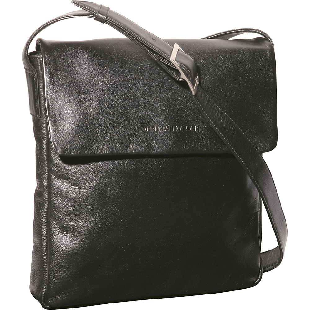 Derek Alexander Slim Flap Shoulder - Black - Handbags, Leather Handbags