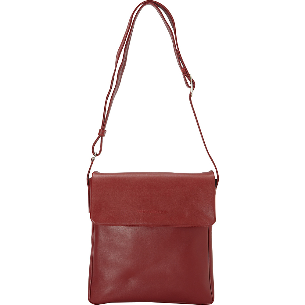 Derek Alexander Slim Flap Shoulder Red Derek Alexander Leather Handbags