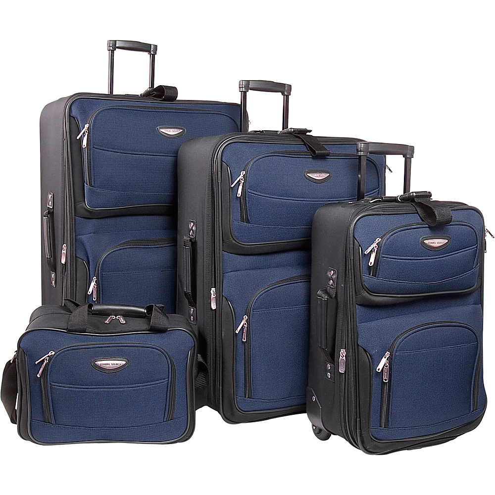 Travelers Choice Amsterdam 4-Piece Set - Navy - Luggage, Luggage Sets