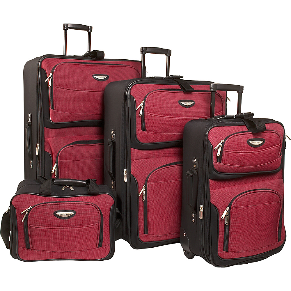 Travelers Choice Amsterdam 4-Piece Luggage Set Red - Travelers Choice Luggage Sets - Luggage, Luggage Sets