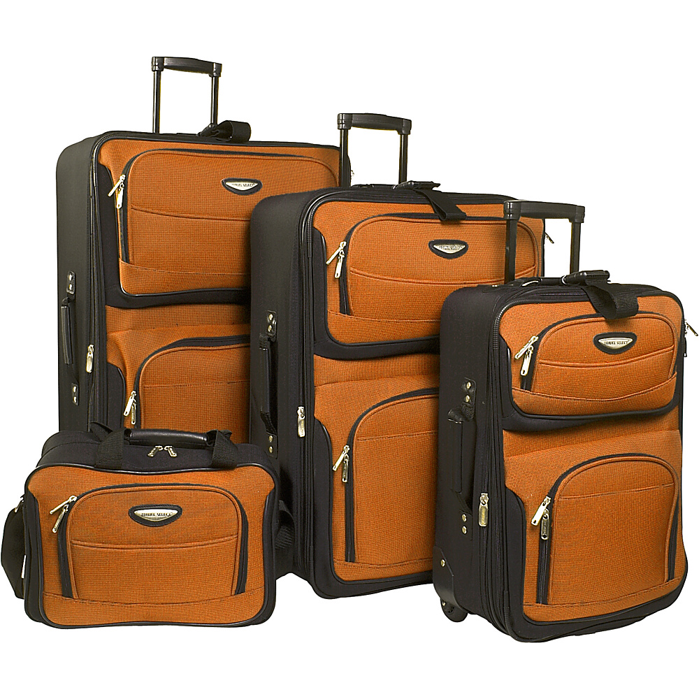 Travelers Choice Amsterdam 4-Piece Set - Orange - Luggage, Luggage Sets
