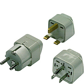 Grounded Great Britain/Africa Adapter Plug - set of 2 As Shown