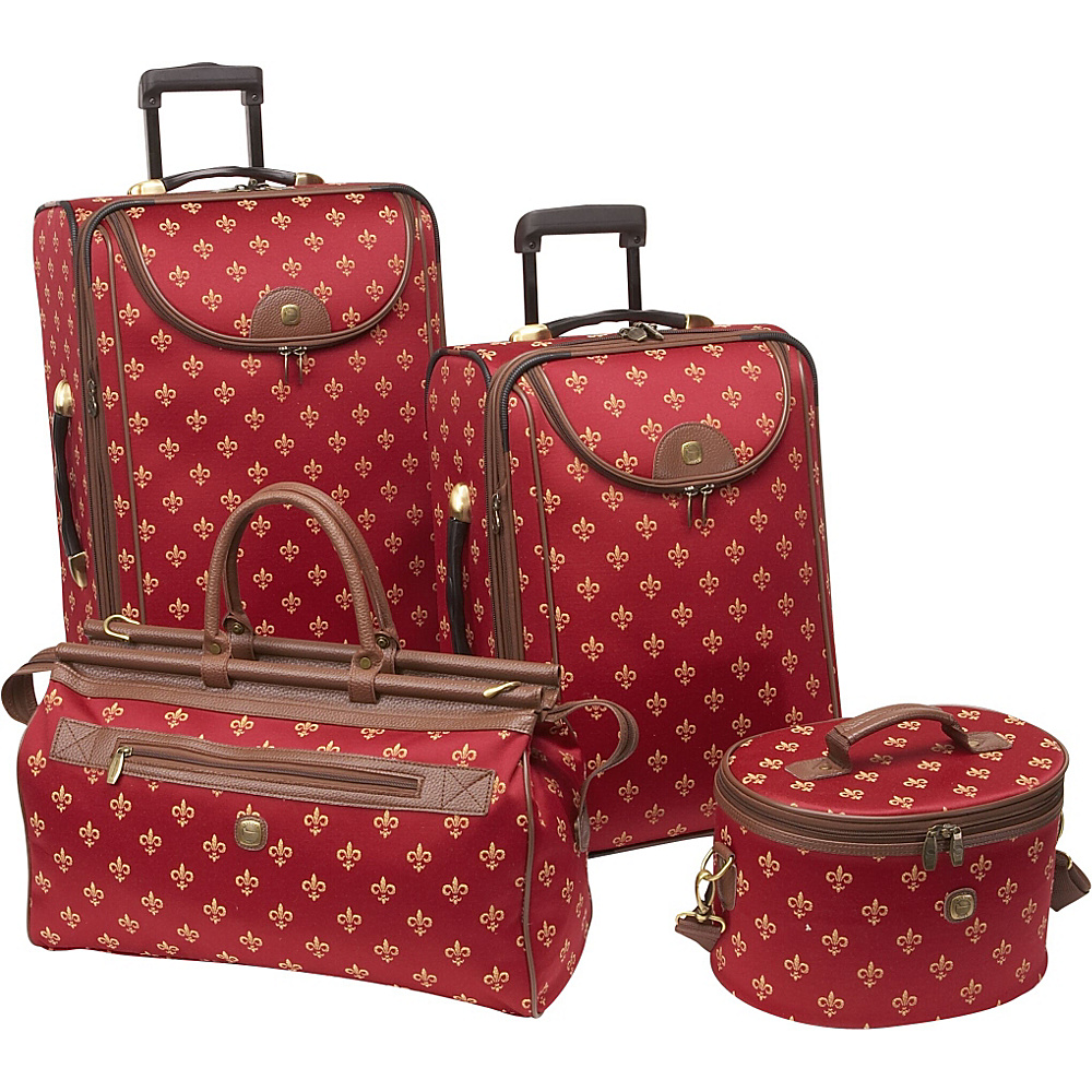 American Flyer Fleur de Lis 4-Piece Luggage Set Red Fleur de Lis - American Flyer Luggage Sets