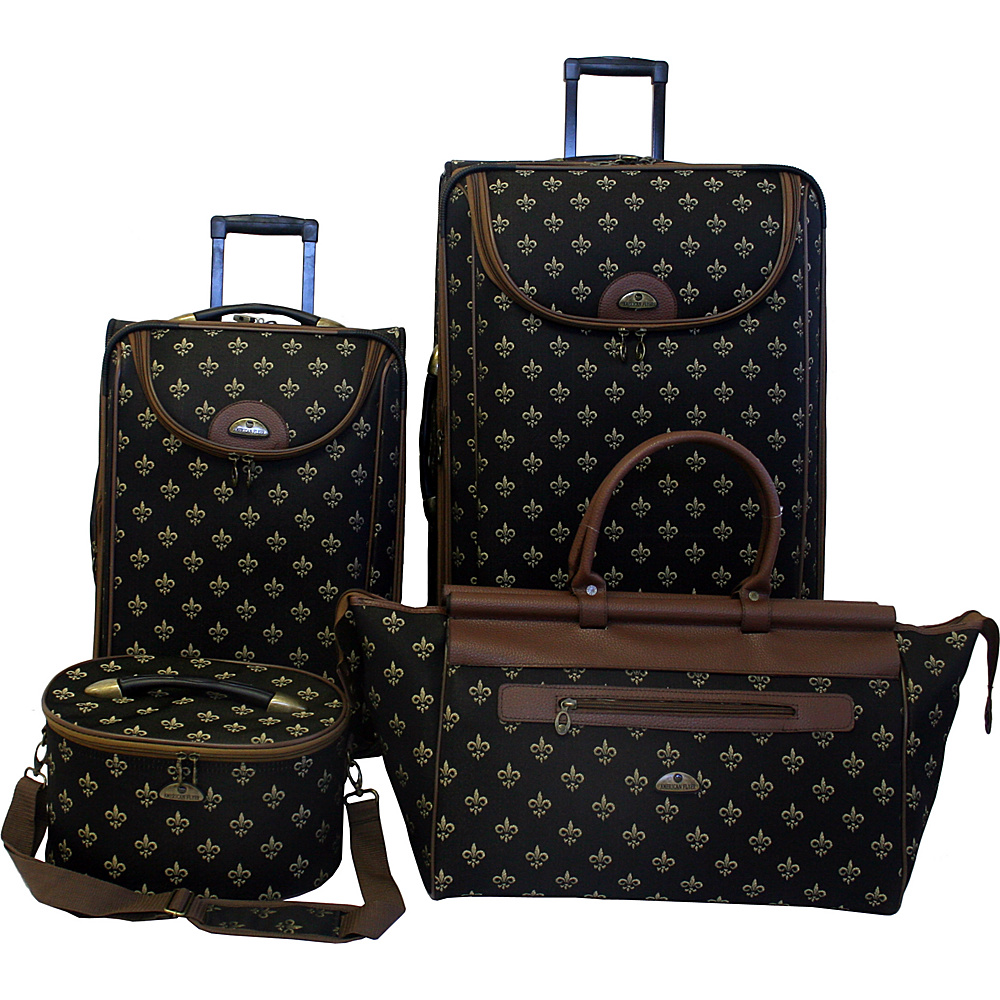 American Flyer Fleur de Lis 4-Piece Luggage Set Black Fleur de Lis - American Flyer Luggage Sets