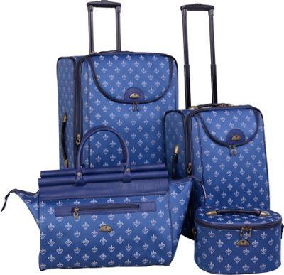 American Flyer Fleur de Lis 4-Piece Luggage Set Blue - American Flyer Luggage Sets