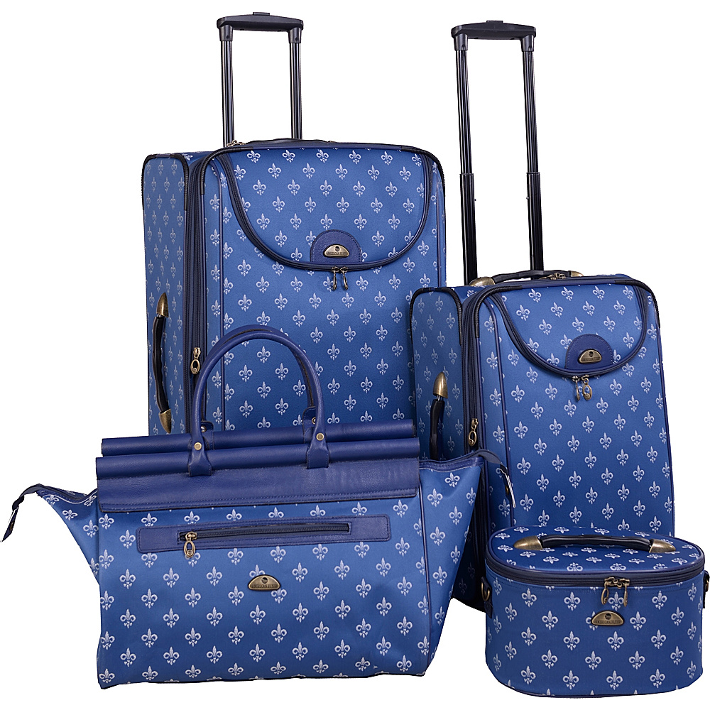 American Flyer Fleur de Lis 4 Piece Luggage Set Blue American Flyer Luggage Sets