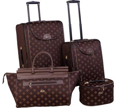 American Flyer Fleur de Lis 4-Piece Luggage Set Brown - American Flyer Luggage Sets