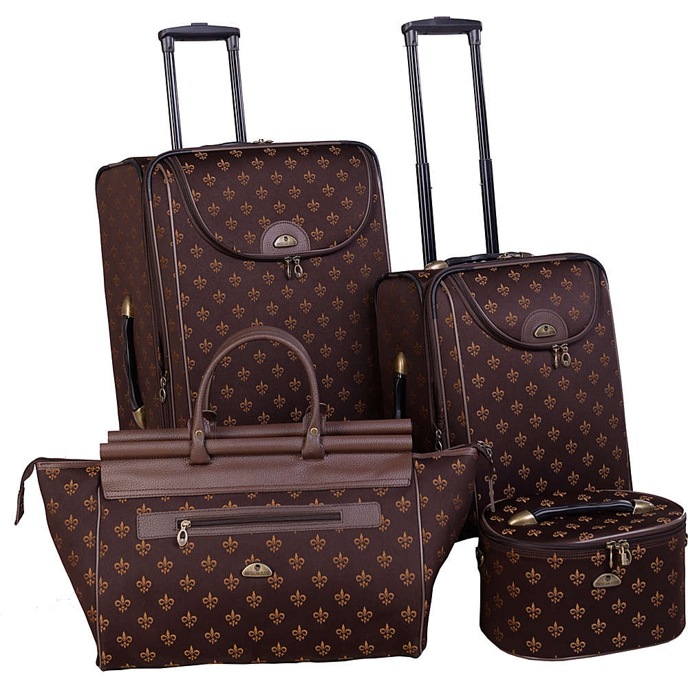 American Flyer Fleur de Lis 4 Piece Luggage Set Brown American Flyer Luggage Sets