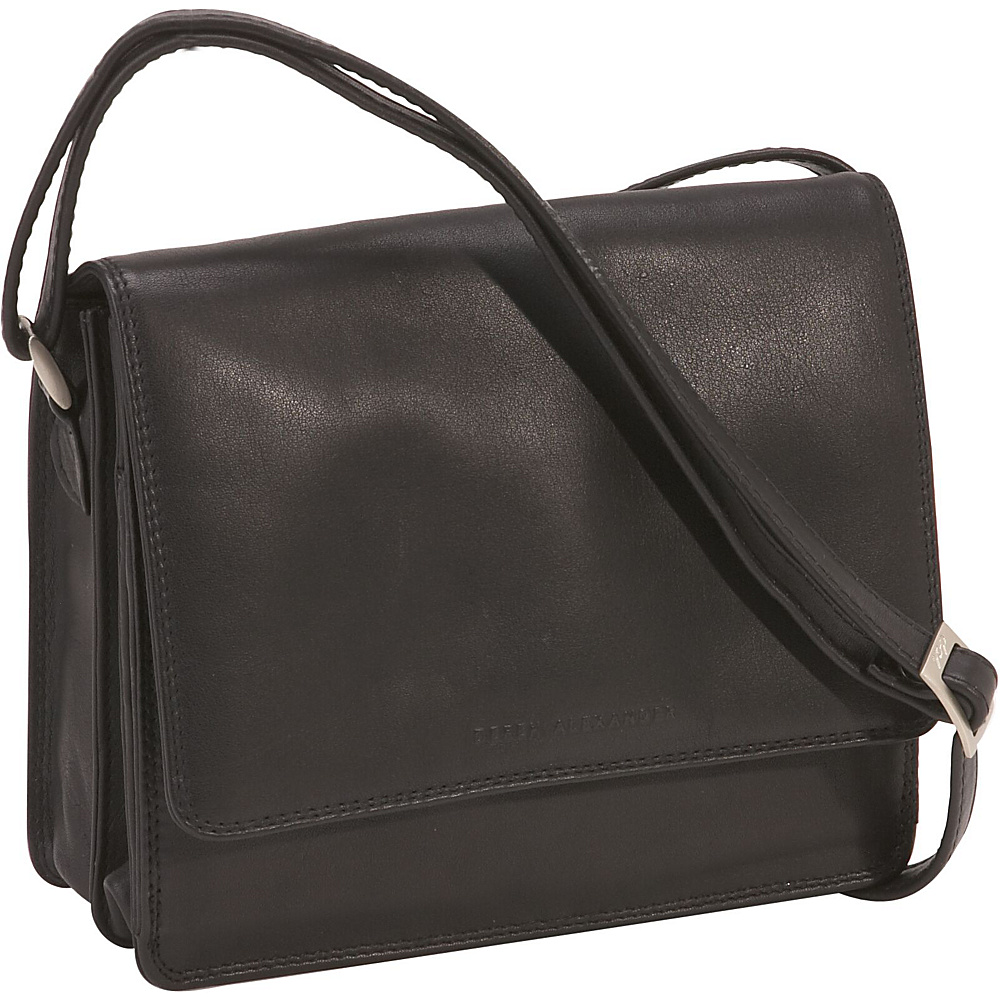 Derek Alexander Three-Quarter Flap Organizer - Black - Handbags, Leather Handbags