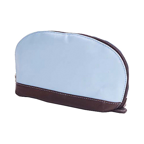 Clava Accessory Pouch with Cafe Trim - Blue w/cafe