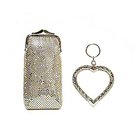 Long Cigarette/Eyeglass Case With Heart Key Fob Silver