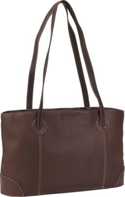 Piel Small Leather Working Tote - Chocolate