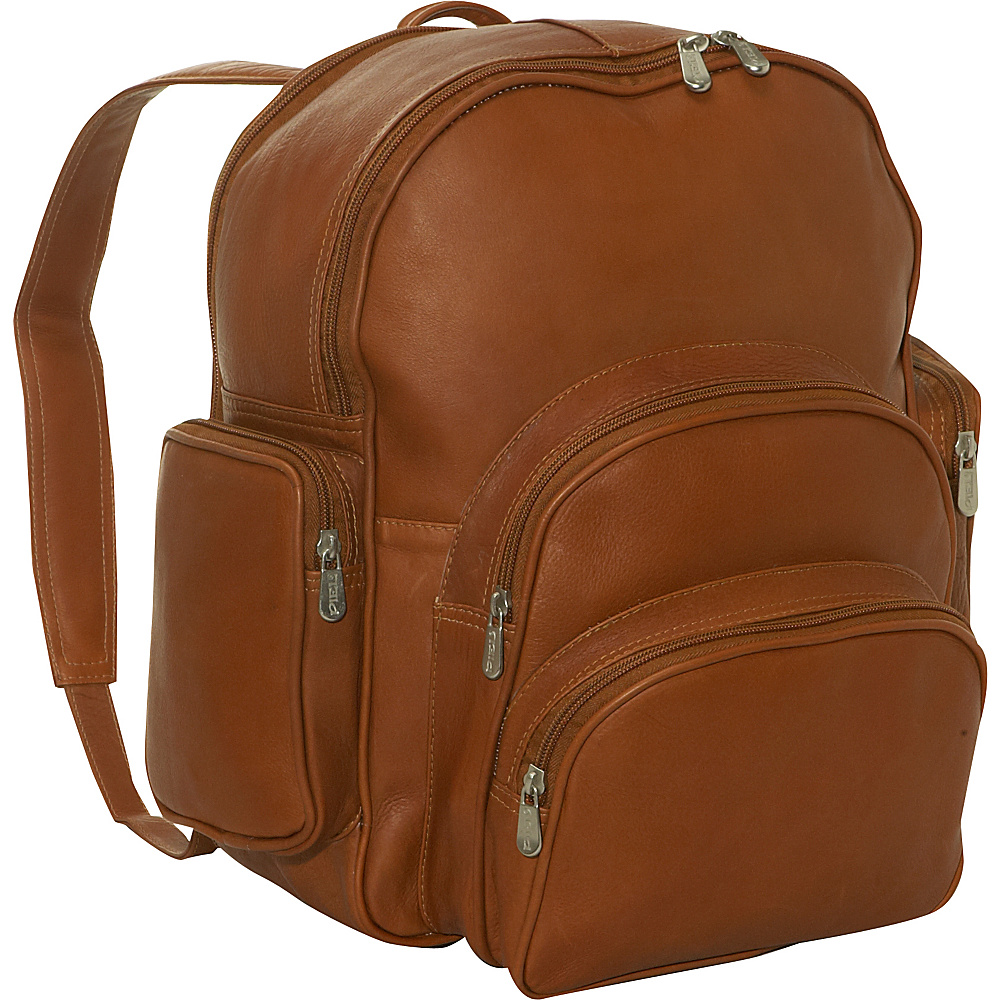 Piel Expandable Backpack - Saddle - Handbags, Leather Handbags