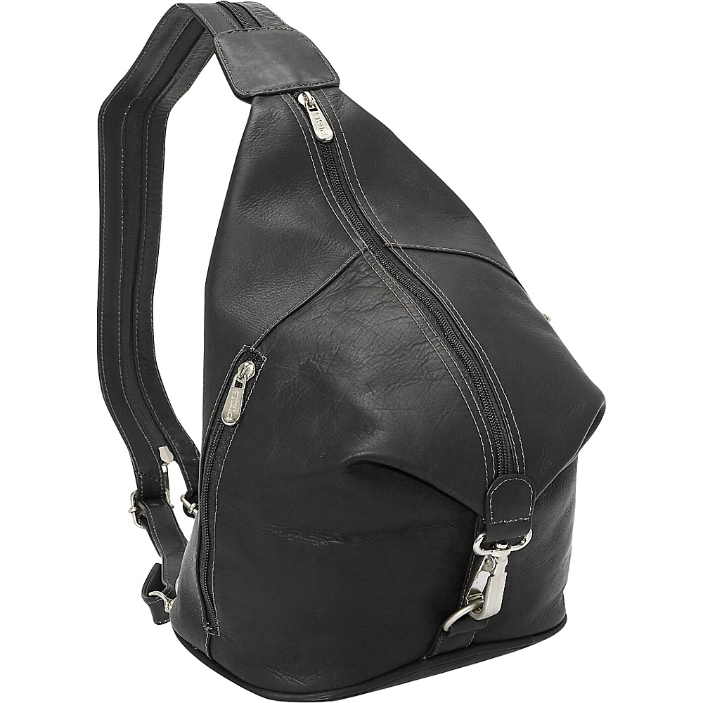 Piel Three-Zip Hobo Sling - Black - Handbags, Leather Handbags