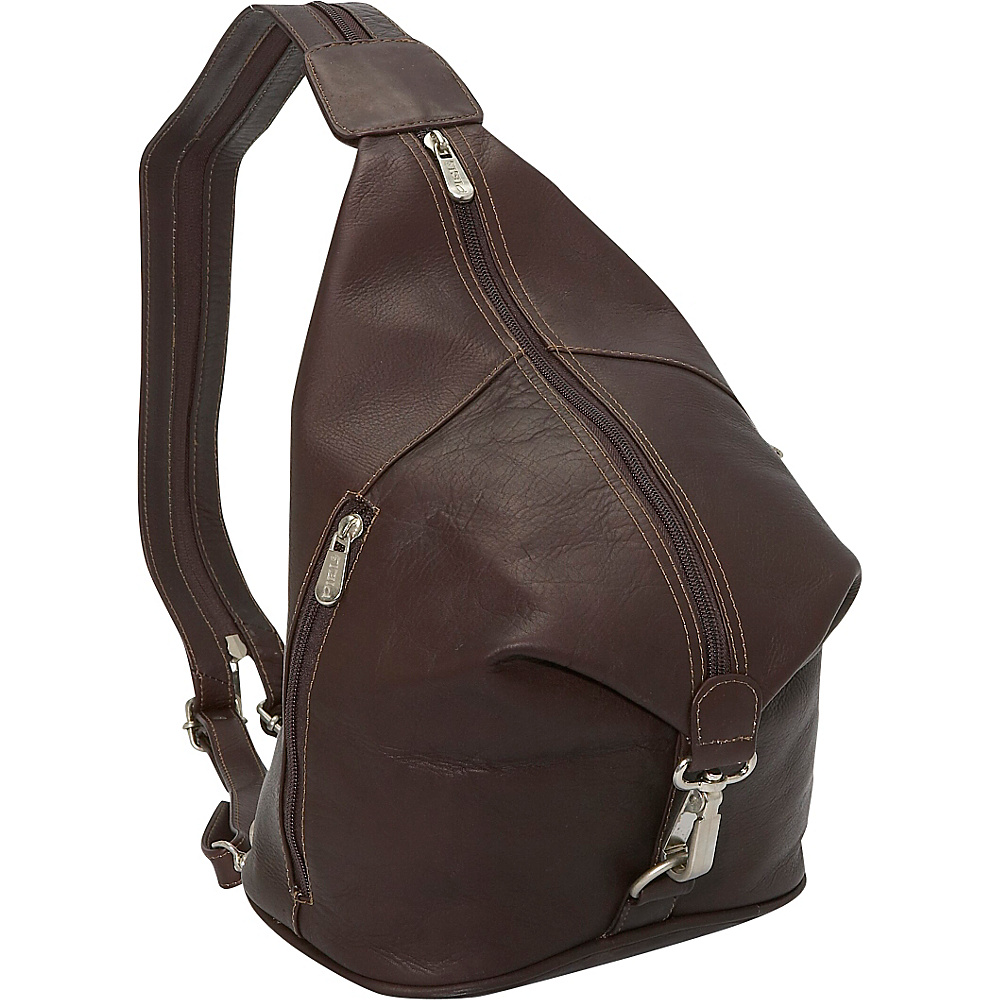 Piel Three-Zip Hobo Sling - Chocolate - Handbags, Leather Handbags