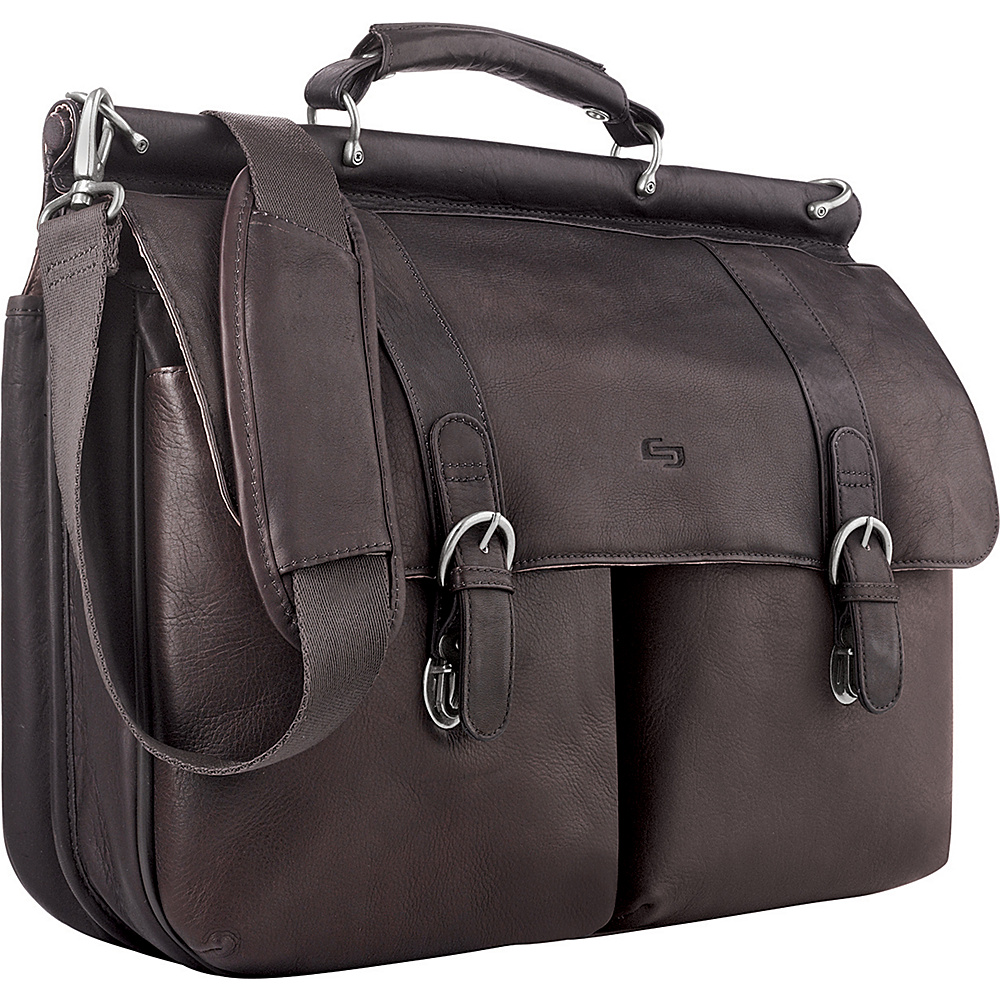 "SOLO Premium Leather 16"" Laptop Briefcase Espresso - SOLO Non-Wheeled Business Cases"