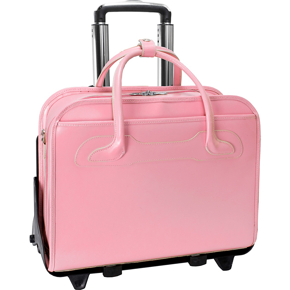 McKlein USA W Series Willowbrook Leather Detachable Wheeled Womens Laptop Case Pink - McKlein USA Wheeled Business Cases - Work Bags & Briefcases, Wheeled Business Cases