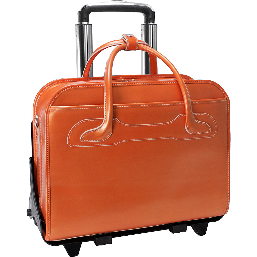 McKlein USA W Series Willowbrook Leather Detachable Wheeled Womens Laptop Case Orange - McKlein USA Wheeled Business Cases - Work Bags & Briefcases, Wheeled Business Cases