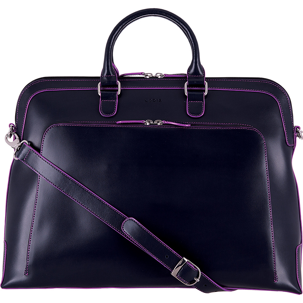 Lodis Audrey RFID Brera Brief with Computer Compartment Navy/Orchid - Lodis Non-Wheeled Business Cases - Work Bags & Briefcases, Non-Wheeled Business Cases