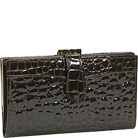 Crocodile Bidente Framed Continental Wallet Brown