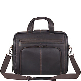 Out Of The Bag - Columbian Leather Expandable Computer Case Brown