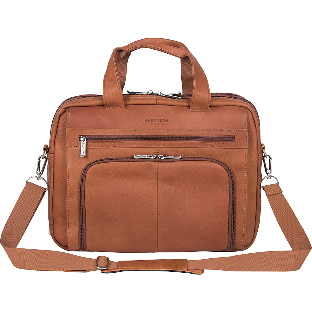 Kenneth Cole Reaction Out Of The Bag Colombian Leather Expandable Computer Case Cognac Kenneth Cole Reaction Non Wheeled Business Cases