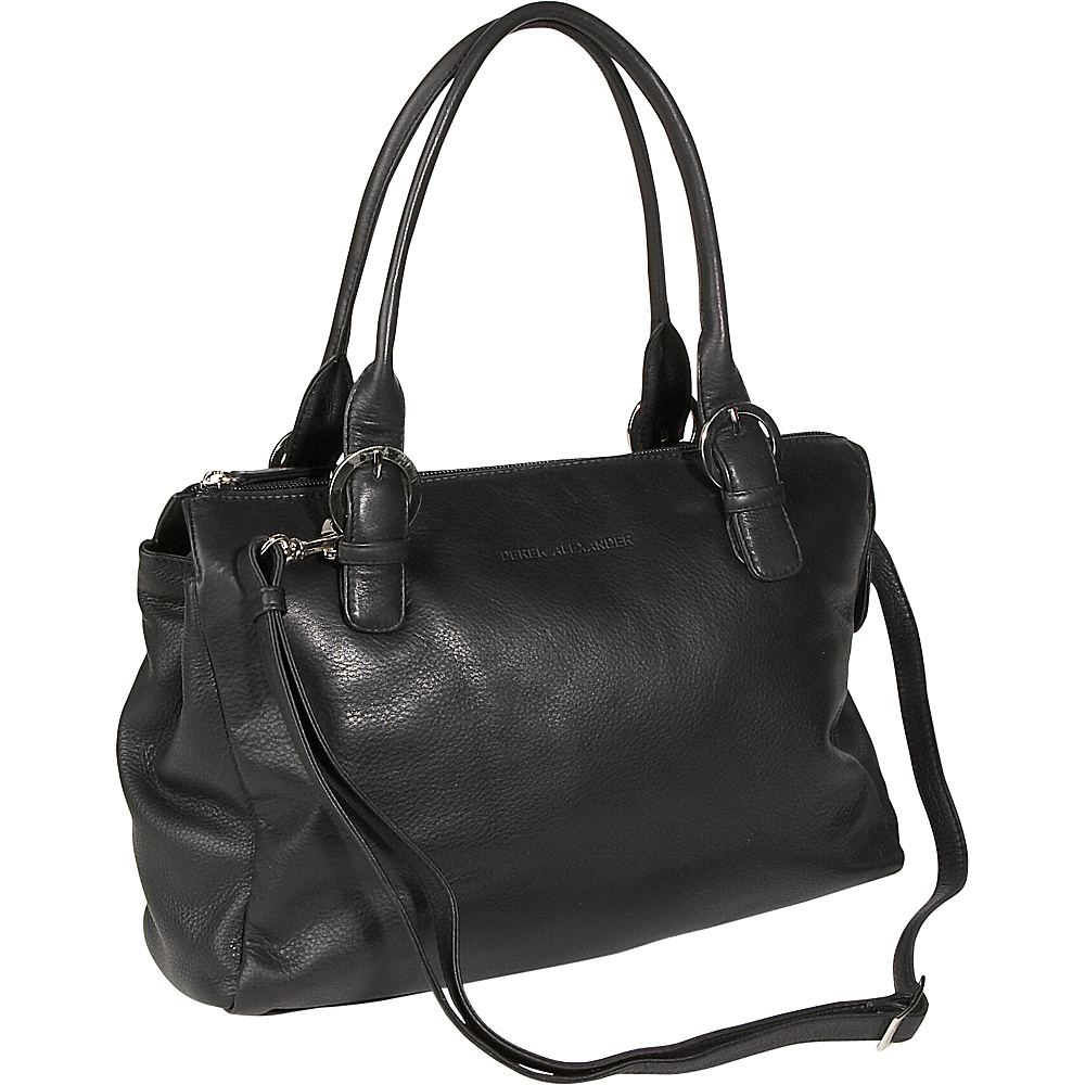 Derek Alexander Twin Handle Zipper Satchel - Black - Handbags, Leather Handbags