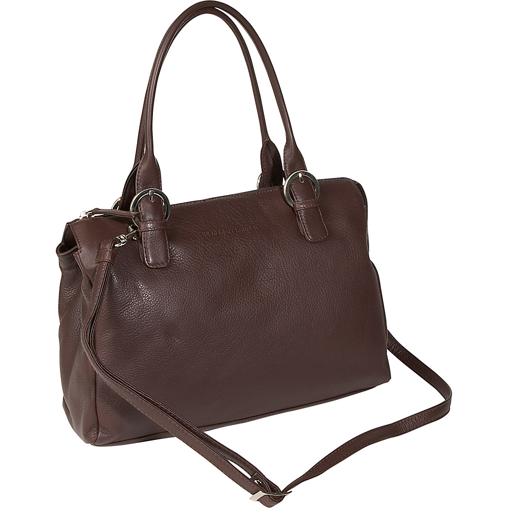 Derek Alexander Twin Handle Zipper Satchel - Brown - Handbags, Leather Handbags