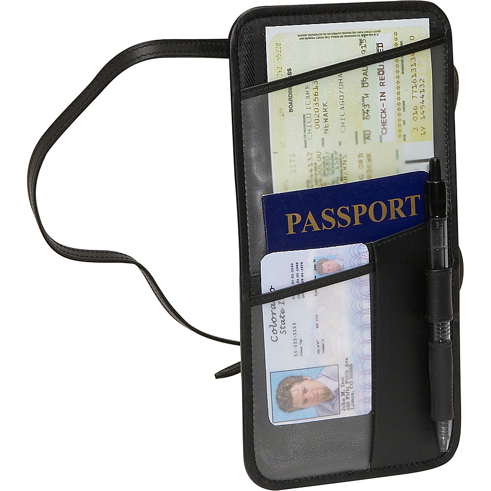 Royce Leather Hanging Security Passport Case - Black - Travel Accessories, Travel Wallets