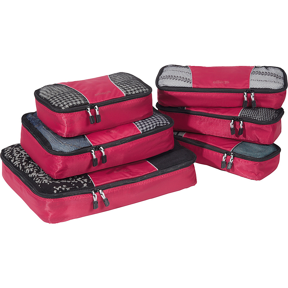 eBags Value Set: Packing Cubes + Slim Packing Cubes Raspberry - eBags Travel Organizers - Travel Accessories, Travel Organizers