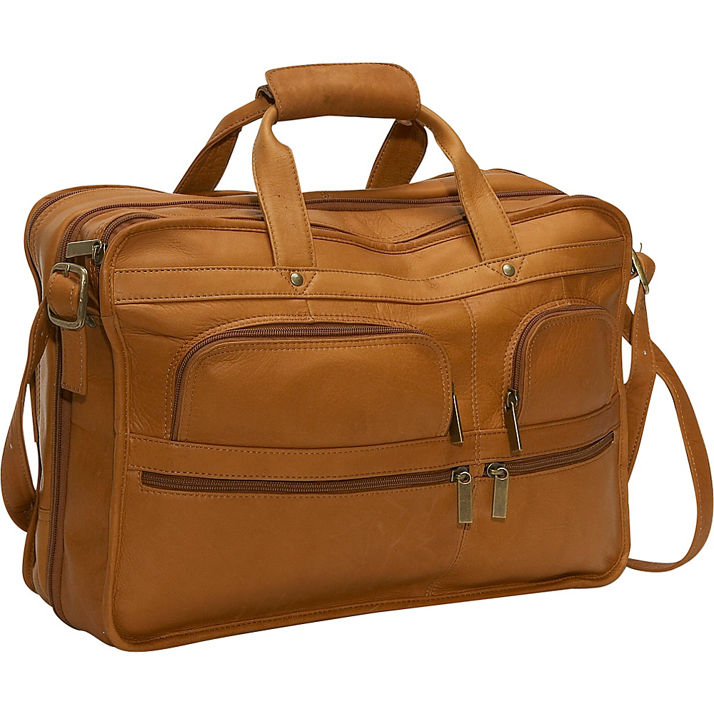 David King & Co. Multi Pocket Organizer Brief Tan - David King & Co. Non-Wheeled Business Cases - Work Bags & Briefcases, Non-Wheeled Business Cases